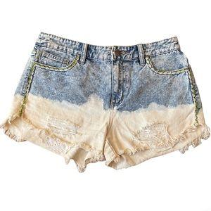 Free People Ombré Distressed Denim Short Shorts